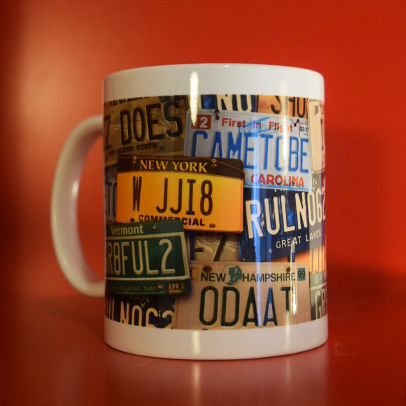 Coffee Mug with License Plates