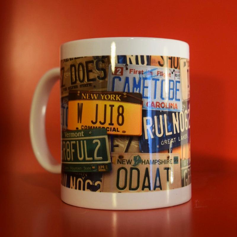 Coffee Mug with License Plates